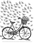 Coloring Page of a bike & butterflies.jp