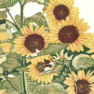 Sunflower Patch - Multicolor Linoleum Block Print