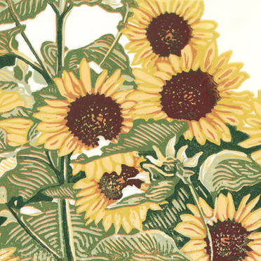 Sunflower Patch - Multicolor Linoleum Block Print