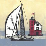 Foggy Finish - Sailboat Print
