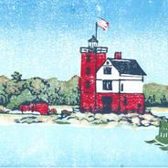 Round Island Light - Multicolor Linoleum Block Print