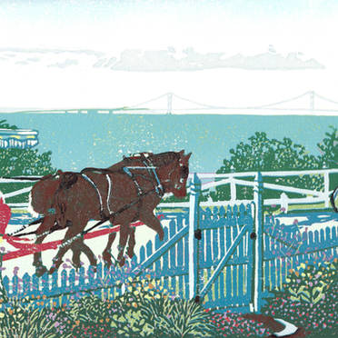 Mackinac Island Garden Gate - Multicolor Linoleum Block Print