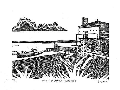 Fort Mackinac Blockhouse | Original Block Print