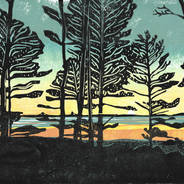 Home - Sunset & Tree Silhouettes Print