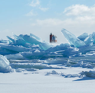 Round Island Lighthouse and Great Lakes blue ice
