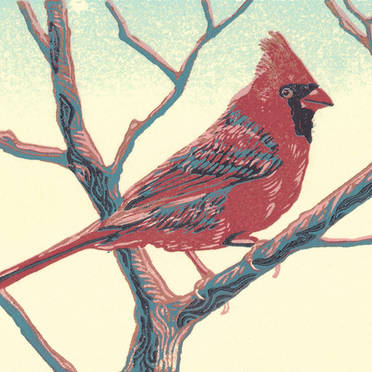 Cardinal - Vibrant Multicolor Wildlife Linoleum Block Print