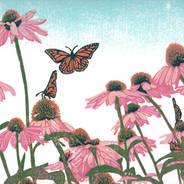 Coneflower Patch - Butterflies and Flowers Multicolor Linoleum Block Print