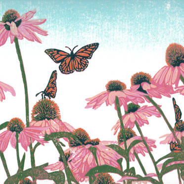 Coneflower Patch - Butterflies and Flowers Multicolor Linoleum Block Print