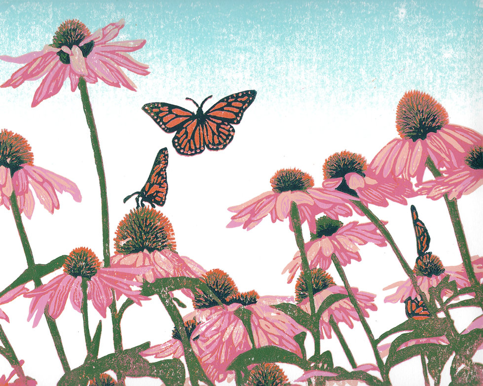 Coneflower Patch - Original Linoleum Blo