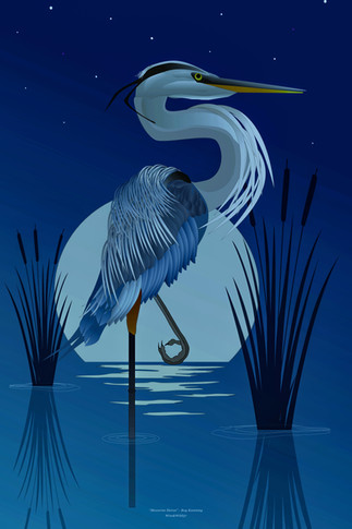 Moonlight Heron