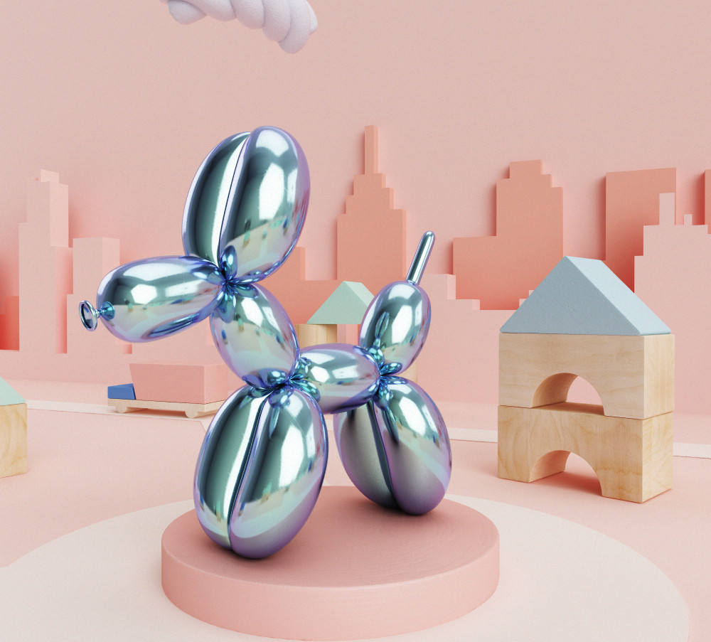 Balloon dog statue