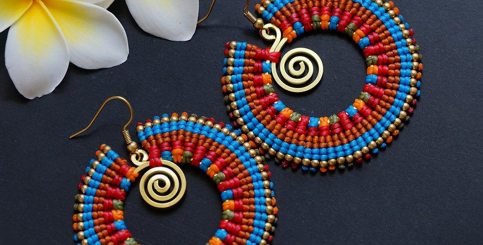 Round Red & Blue Zambilla & Co Earrings