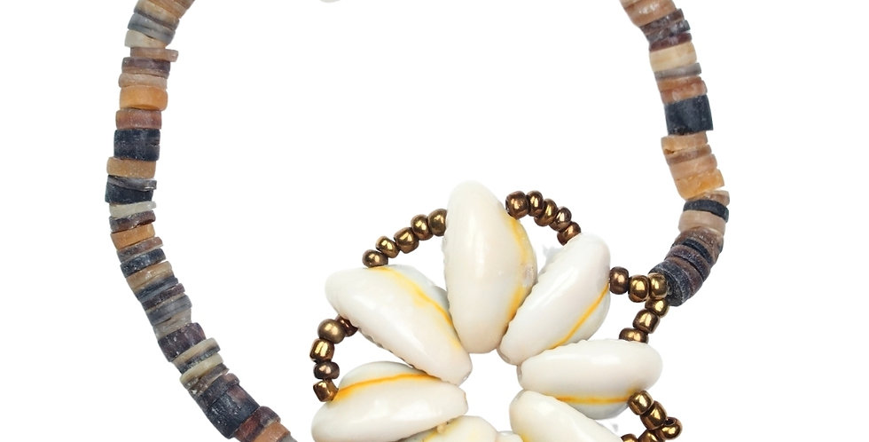 Cowrie Shell Flower (Chrome Beads)