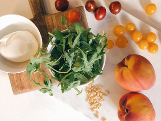 grilled peach and burrata salad