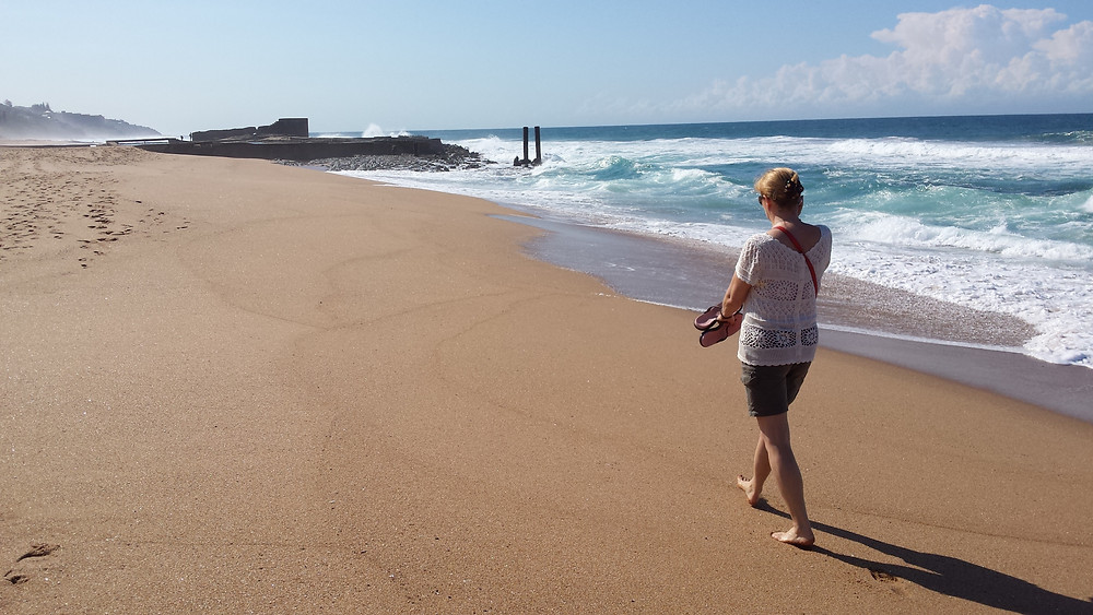 Nadine on the beach at Salt Rock, KZN, South Africa