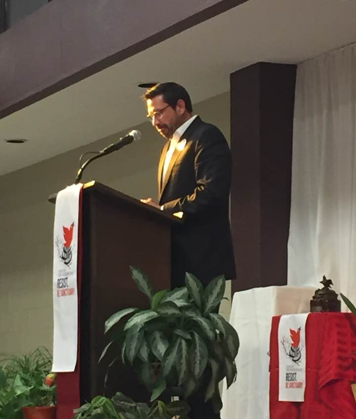 Mayor Javier Gonzalez delivers a speech about unity and resistance.