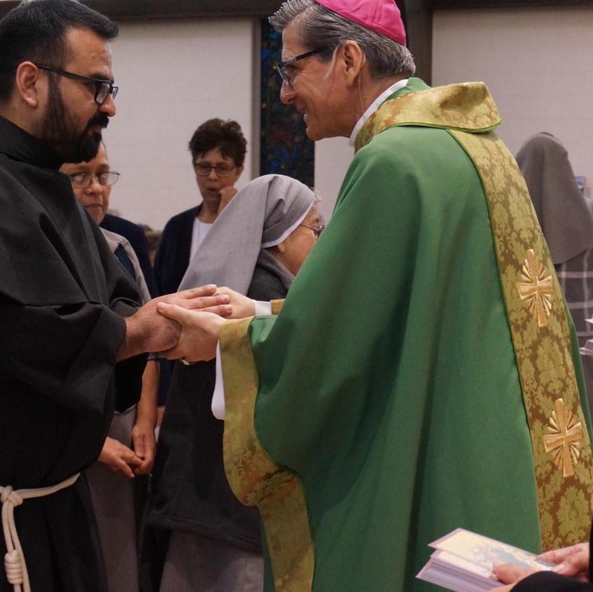 Friar Pedro with Archbishop Garcia- Siller