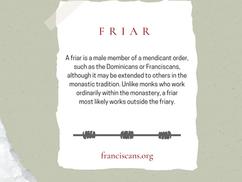 Religious Word Wednesday: Friar