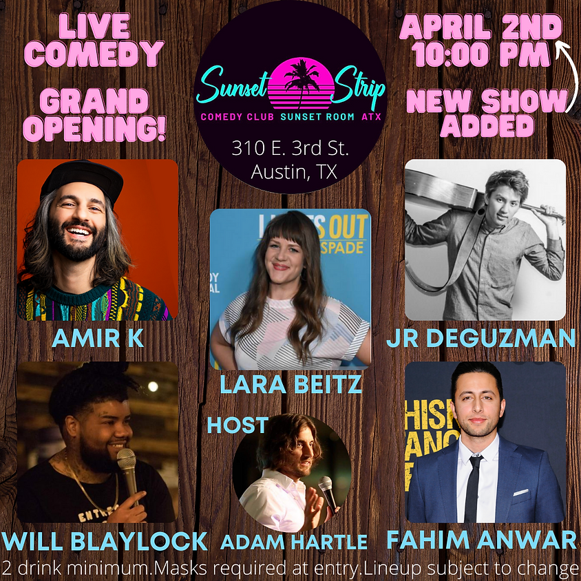 Friday, April 2nd comedy showcase 10:00pm