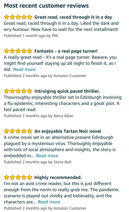 Reviews of Scottish crime novel The Health of Strangers