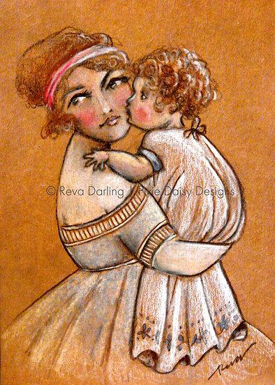 EDU-011_Vintage mom holding baby