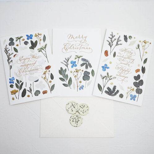 Set of 3 - Christmas Greeting Card (Floral series)