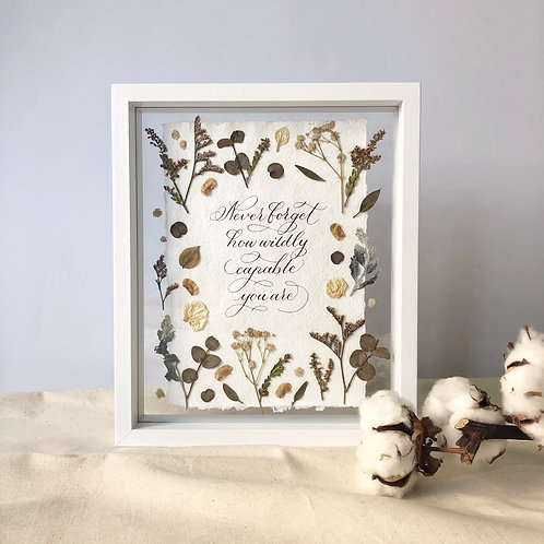 "Calligraphy Floral Frame (Ready-made) - ""Never forget how wildly capable you are"