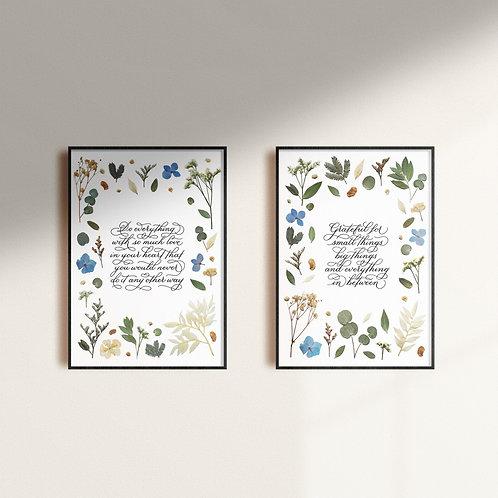 Set of 2 Calligraphy Art Print (Floral series)