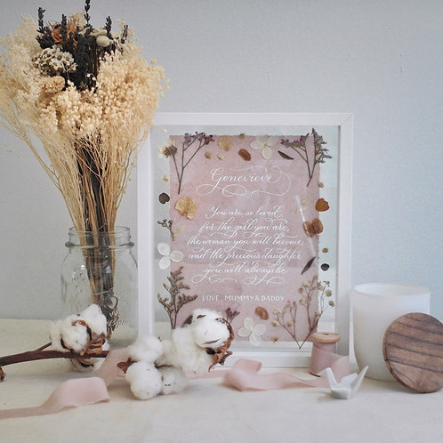 Baby Girl Calligraphy Floral Frame