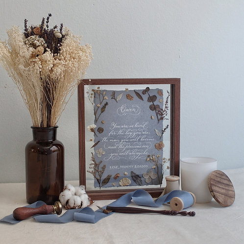 Baby Boy Calligraphy Floral Frame