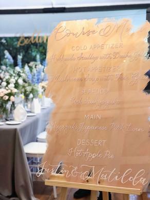 Acrylic Wedding Menu Sign