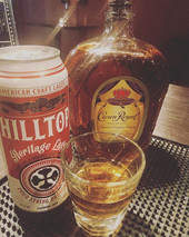 """Introducing the """"King of the Hilltop"""" boilermaker. A shot of crown royal and a Hilltop Heritage Lager for 10$.jpg"""