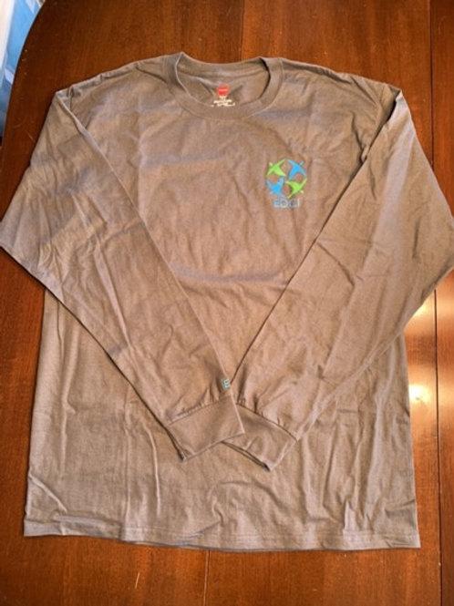 Long-sleeved grey; EDCI logo on front; nothing on back; 50% cotton/50% poly