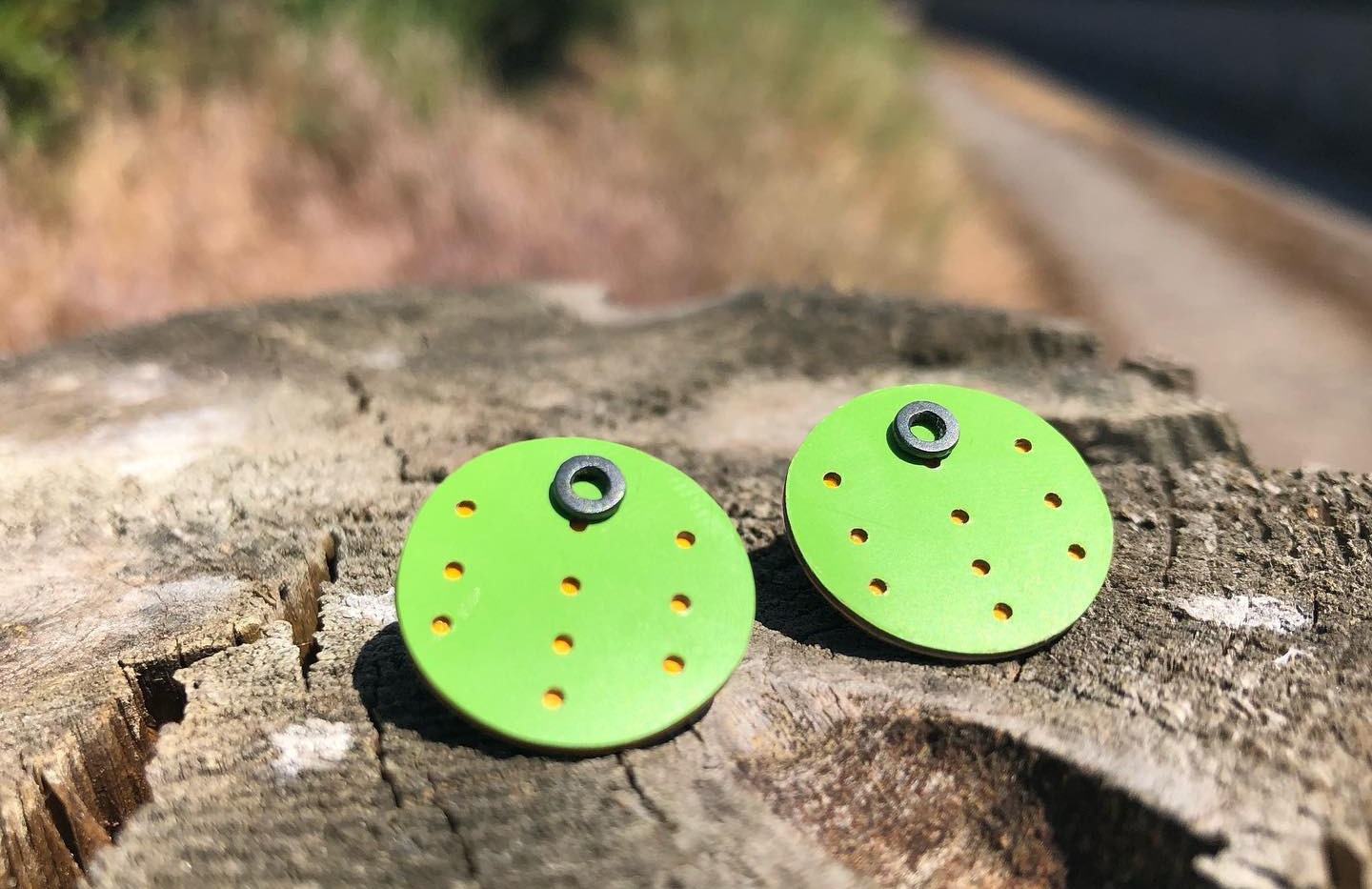Layered Formica Earrings - Green and Orange