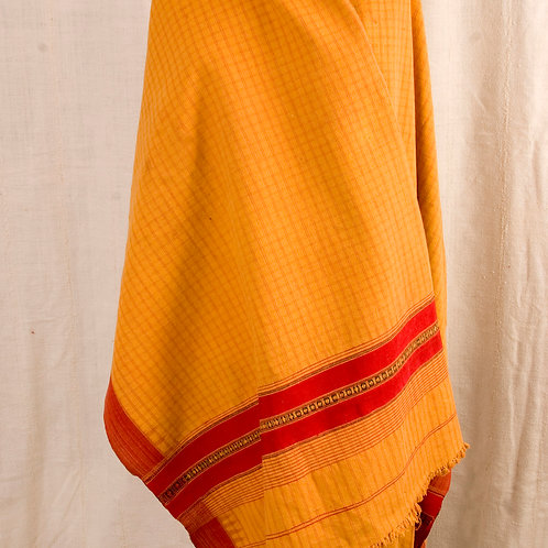 Vintage Waziri shawl orange cotton and pink silk hand woven  Pakistan
