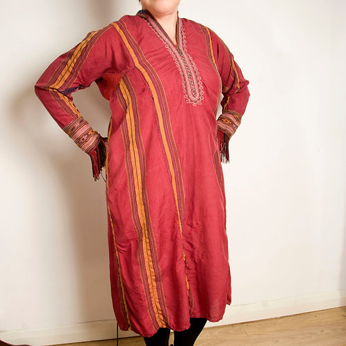 Vintage Tekke Turkmen kaftan dress - hand spun silk