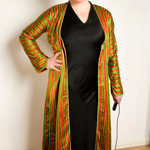Splendid green and red striped silk Turkish Yelek, woman's open coat (robe) Otto