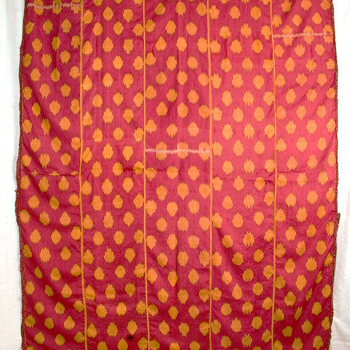 19th century Uzbek red and gold silk on silk Ikat hanging from Bukhara