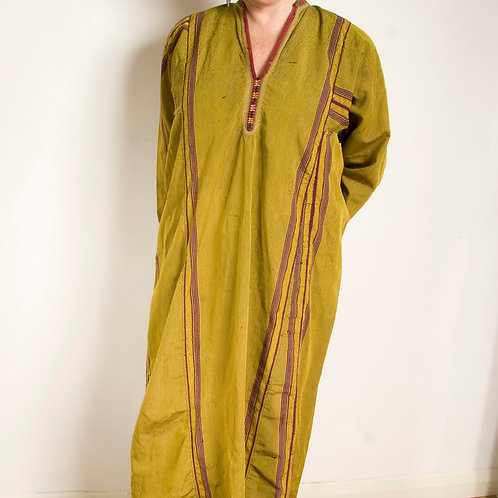 Vintage mustard silk Turkmen kaftan dress Central Asia