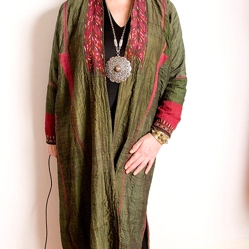 Gorgeous handmade antique green silk Turkmen robe with red accents and fine orig