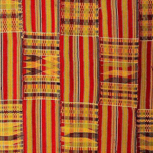 Fine regal Ashante kente cloth from Bonwire 1950s