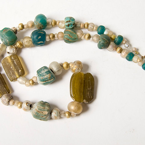 Ancient Roman glass and mixed beads necklace