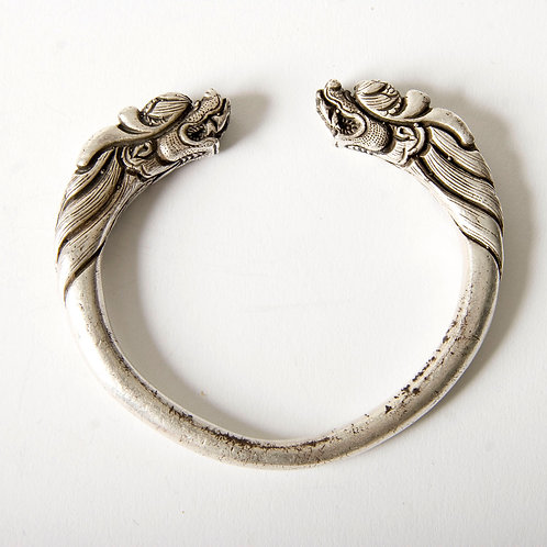 Heavy solid silver dragon vintage bangle from Laos