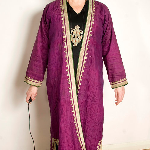 19th/early 20th century purple silk shahi Uzbek robe with gold trim