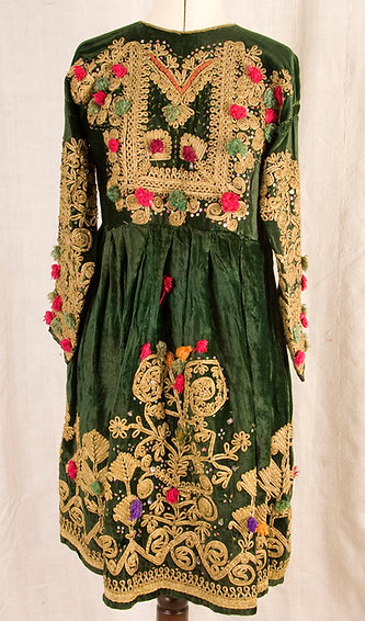 Green and gold vintage Pashtun wedding dress - small size