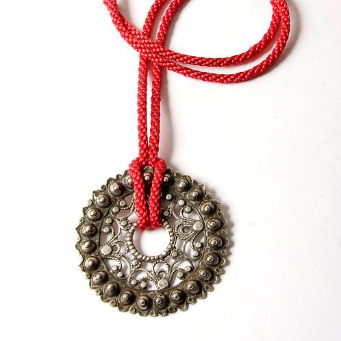 Antique silver Algerian fibula pendant