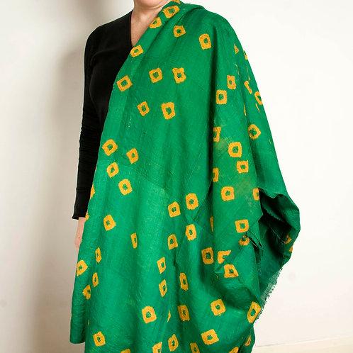 Vintage green tie dye dupioni silk hanging Uzbek Central Asian