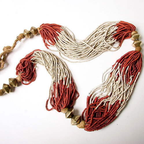 Beautiful and dramatic old Gond or Gondh tribe bead necklace India early 20th ce
