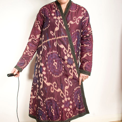 19th century purple silk ikat chapan robe Central Asia