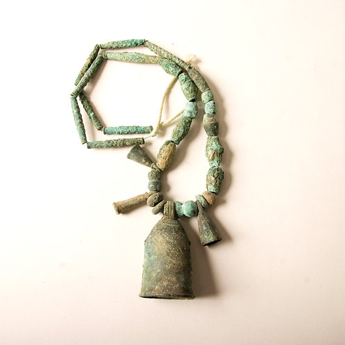 Excavated ancient bronze beads with bell shapes Djenne